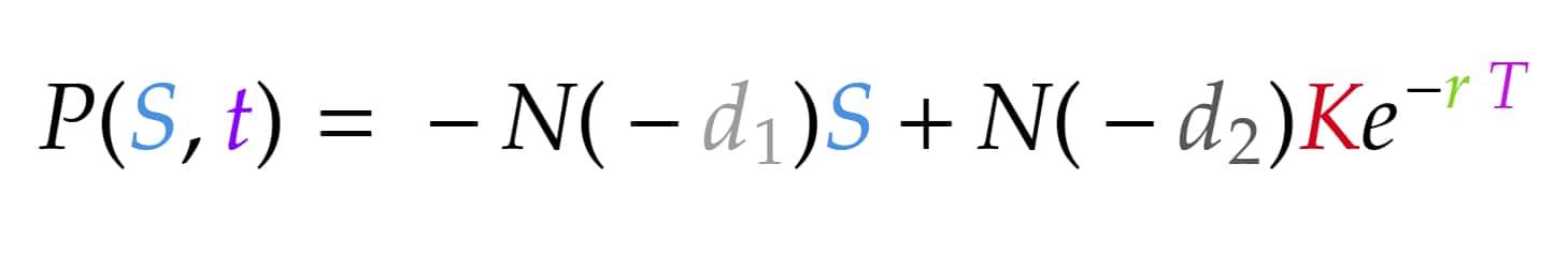 put black scholes formula